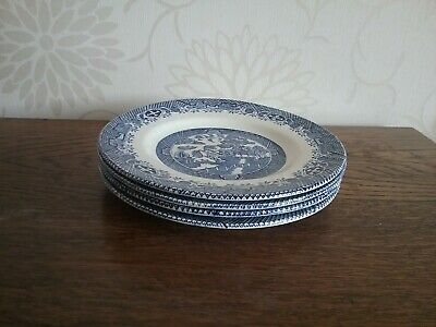 Barratts Of Staffordshire 4 Blue And White Willow Pattern Tea Cake Plates • 10£