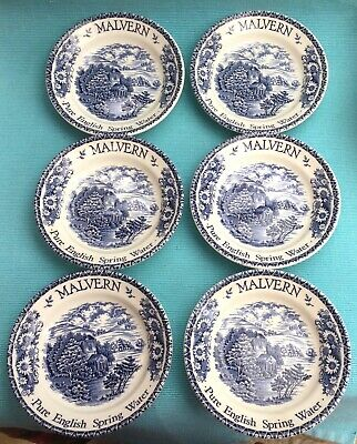 Beautiful Set 6 Blue &white Pictorial Dishes Adverting Malvern Pure Spring Water • 20£