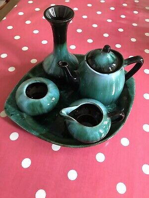 Blue Mountain Pottery Teal Glaze Teaset  - Mint Condition • 14.99£
