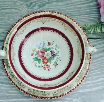 Grindley Cream Petal Burgundy Floral Vintage Soup Coupe And Plate • 5.99£