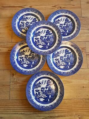 Six Willow Blue And White Churchill Plates. Size 9.5 Inches • 5£