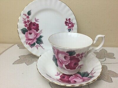 Queen Anne Bone China Pink Roses Tea Trio Cup Saucer & Side Plate Superb Cond • 9.99£