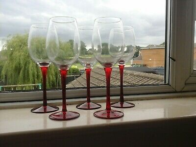Set Of 5 Vintage Wine Glasses Clear With Ruby Stems Large Size • 7.99£