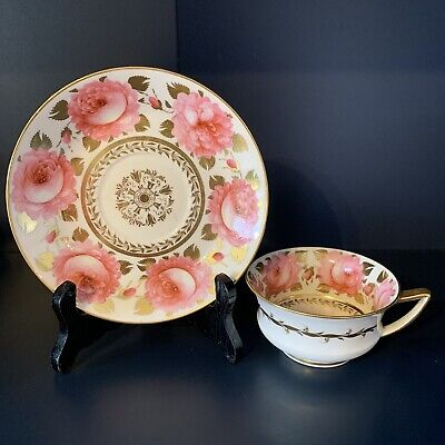 Antique Davenport Cabbage Rose Cup And Saucer • 12.50£