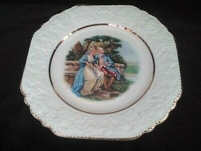 Ornamental Plate With Courting Couple, Lord Nelson Pottery, Gilded Embossed Rim • 7£