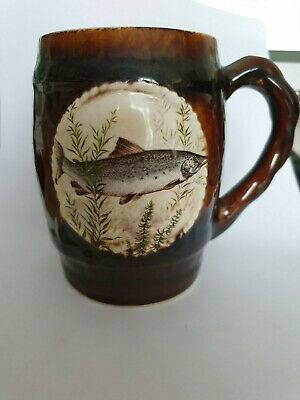 Vintage Great Yarmouth Potteries Brown Mug With Fish Design  • 2.50£