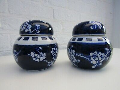 Two Blue And White Prunus Ginger Jars 12cm • 4£