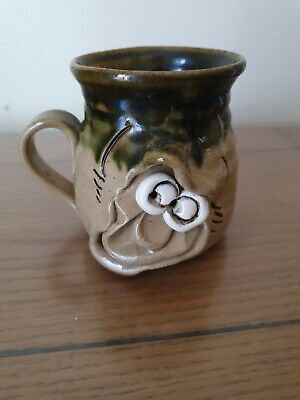 PRETTY UGLY POTTERY MUG Handmade In Wales Stamped On Base • 6.75£