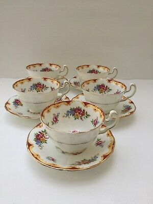 Adderley Bone China Pritty Floral X 5 Tea Cups And Saucers  • 29.99£