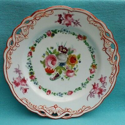 Unusual Vintage Fine Hand Painted Floral Roses Reticulated 23cm Plate • 10£