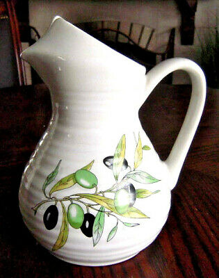 Vintage Home Decor Beige Pottery Water Pitcher W/ Olives • 14.03£