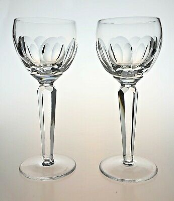 2 X Waterford Crystal Sheila (Kathleen) Tall Wine / Hock Glasses - Signed (PAIR) • 47.50£