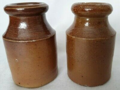 Pair Of Small Rustic Stoneware Pots Glazed Gloss Brown Finish Rough Base • 7.99£