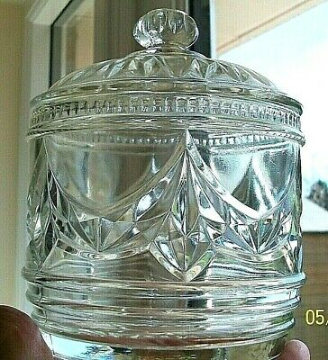 Glass. Edwardian Style. Elegant  Biscuit Server. Art Nouveau. Lidded With Swags. • 14.50£