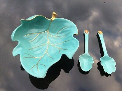 Vintage Carlton Ware Salad Dish Torquoise And Gold With Serving Spoons • 3.20£
