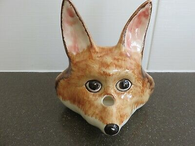 Vintage Fox Head String And Scissor Holder - Wall Hanging Babacombe Pottery • 18£