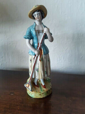 Attractive Staffordshire Figure 19th Century Country Girl • 7.50£