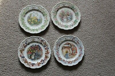 Royal Doulton Brambly Hedge Four Seasons Spring Summer Autumn Winter Plates Set • 25£