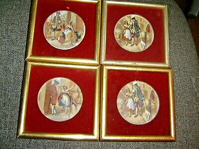 Set Of Four Vintage Pottery Pictures In Frames • 5£