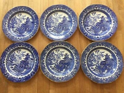 6 Vintage Burleigh Ware Willow Side Plates 17.5cm Diameter • 24£
