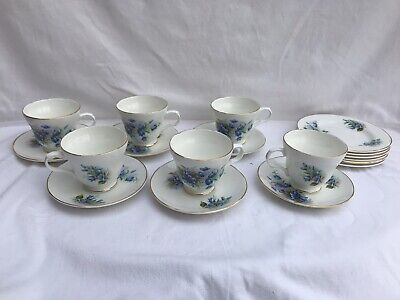 Beautiful Vintage Crown Trent Bluebell 18 Piece Teaset - In Mint Condition • 9.50£