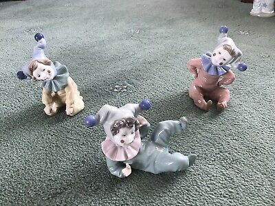Nao/lladro Figurines Used  Three Porcelain Clowns  Purchased  As Individuals • 25£