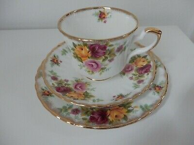 Royal Stafford Bouquet Old Country Roses Vintage Bone China Cup Saucer Trio • 4.99£