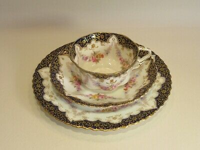 Antique Crown Staffordshire Tea Cup/saucer/side Plate Trio 2356 C.1900-1906 (1) • 55£