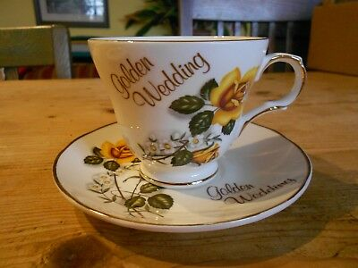 Vintage Crown Trent Staffordshire Bone China Golden Wedding Cup & Saucer & Spare • 3£