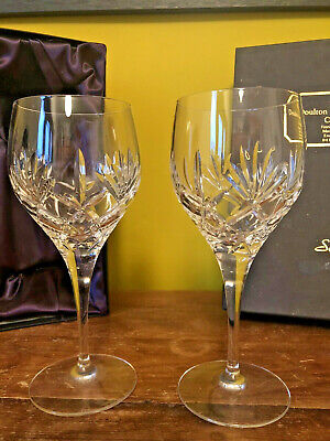 Beautiful Pair SOPHIE DOULTON Crystal WINE GLASSES BOXED • 25£