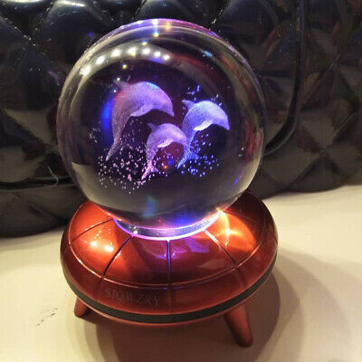 Crystal Ball 3D LED Crystal Decor Night Light Table Lamp Desk Gift  Kid Toy Xmas • 18.89£