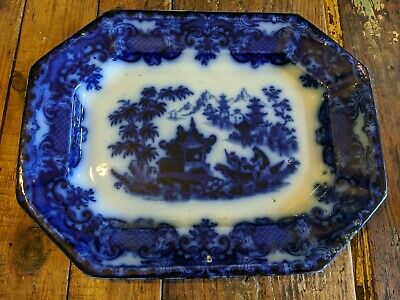 Antique TJ & J Mayer Formosa Blue Flow Platter - White Plate 39cm Pottery  • 55£