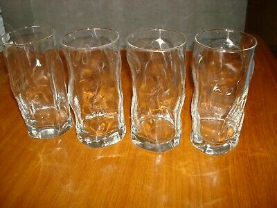 Set Of 4 Bormioli Rocco Sorgente Drinking Glass Tumblers 16 Oz. Wavy Glass • 29.89£