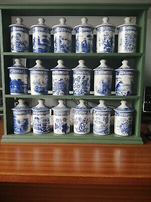 Set Of 18 Original Spode Blue Room Collection Of Spice/Herb Pots With Rack • 299£