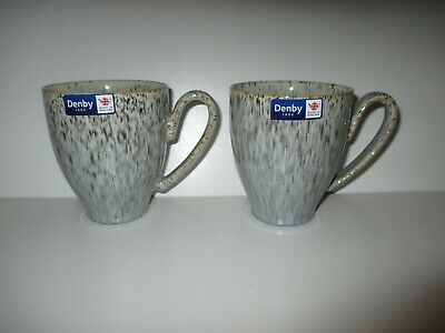 Denby Pottery Halo Speckle 2 X Large Mugs New First Quality Excellent Condition • 27.50£