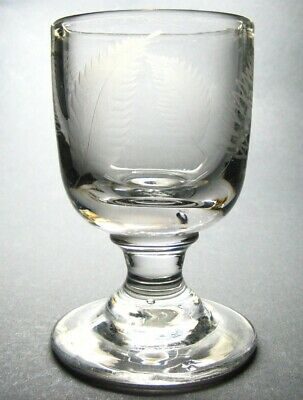 Antique Georgian Hand Blown Etched Fern Large Heavy Rummer Drinking Glass • 125£