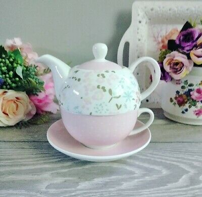 Pink Floral Floral Teapot For One Gift Set Shabby Chic  Teacup, Saucer & Teapot • 5.99£