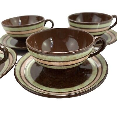 Vintage Sadler Brown Betty Cups & Saucers X4 1940s WWII Homefront Prop • 16.90£