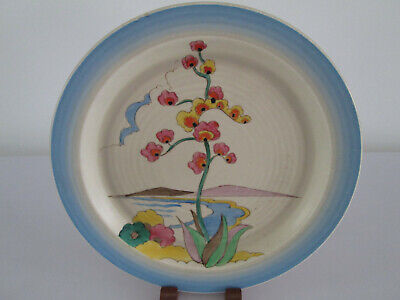 Clarice Cliff 8.5  Ribbed China Plate Agave Pattern Clouds Mountain Beach Flower • 99.99£
