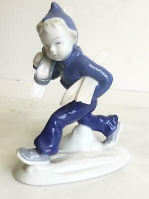 Metzler & Ortloff Germany Blue Boy Skiing Ski Winter Figurine • 15.30£