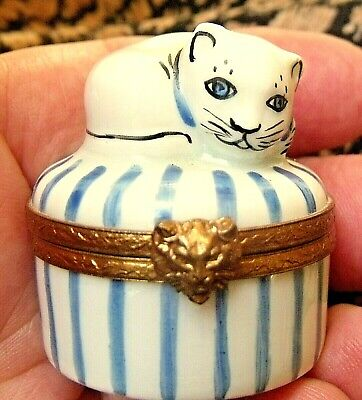 Limoges France Peint Main Pill Patch Trinket Box Cat Regency Blue Stripe • 39.75£