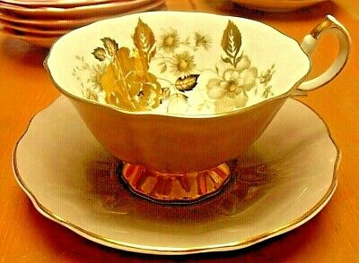 Vintage Queen Anne Beige And Gilt Rose Cup & Saucer Gilded • 19.95£