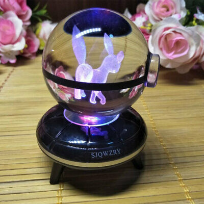 Umbreon Crystal Ball Pokemo 3D LED Crystal Decor Night Light Table Lamp Gift Toy • 17.49£