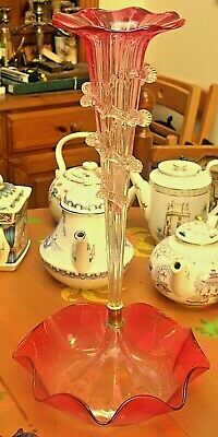 Victorian Cranberry Glass Epergne Vase And Stand   18  Tall • 95£