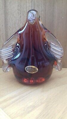Wedgwood Glass Penguin Paperweight Amber • 10£