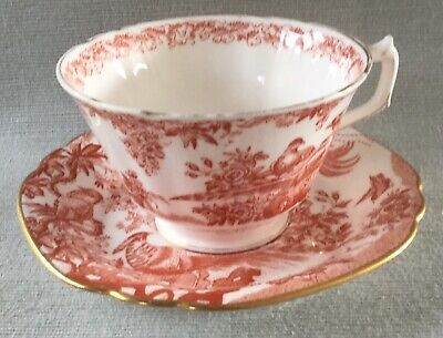 Lovely Oversized Royal Crown Derby Red Aves Cup And Saucer 2nd Quality  • 12£