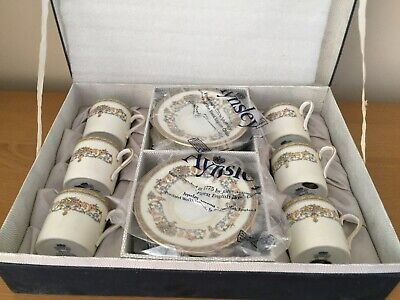Vintage Boxed 6 X Aynsley Coffee Cans / Cups & Saucers Henley Pattern Fine China • 45£