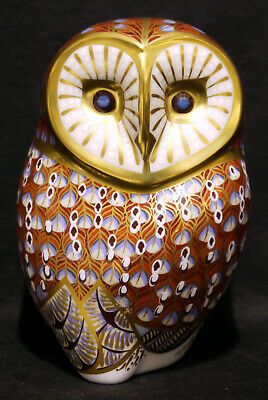 Royal Crown Derby Barn Owl Paperweight : 11cm, Gold Stopper - VGC • 31£