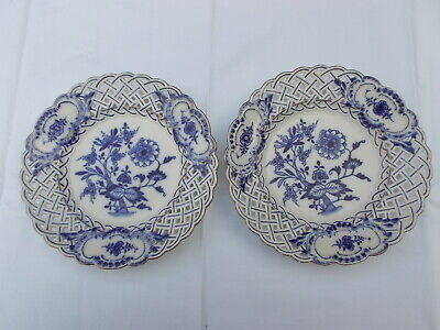 2 Antique Meissen Porcelain Blue Onion Patterned Plates With Reticulated Border  • 15£