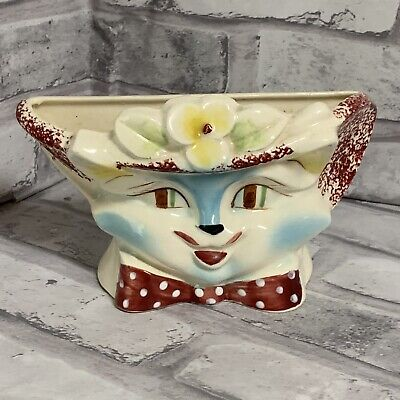 Vintage Cat Wall Pocket Blue Kitty With Flower Hat Anthropomorphic • 19.67£